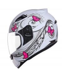 Capacete EBF Spark borboleta Branco e Rosa