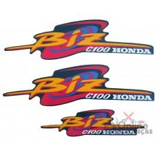 Jogo Adesivos C100 Biz 1998 e 1999 Azul Perolizado LBM