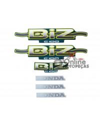 Jogo Adesivos C100 Biz 2002 Verde LBM