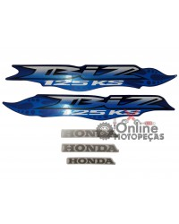 Jogo Adesivos C125 Biz KS 2007 Azul LBM